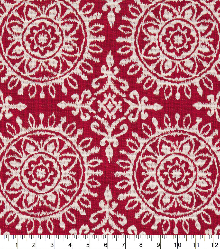 Robert Allen @ Home Upholstery Swatch-Suzani Strie Red & White