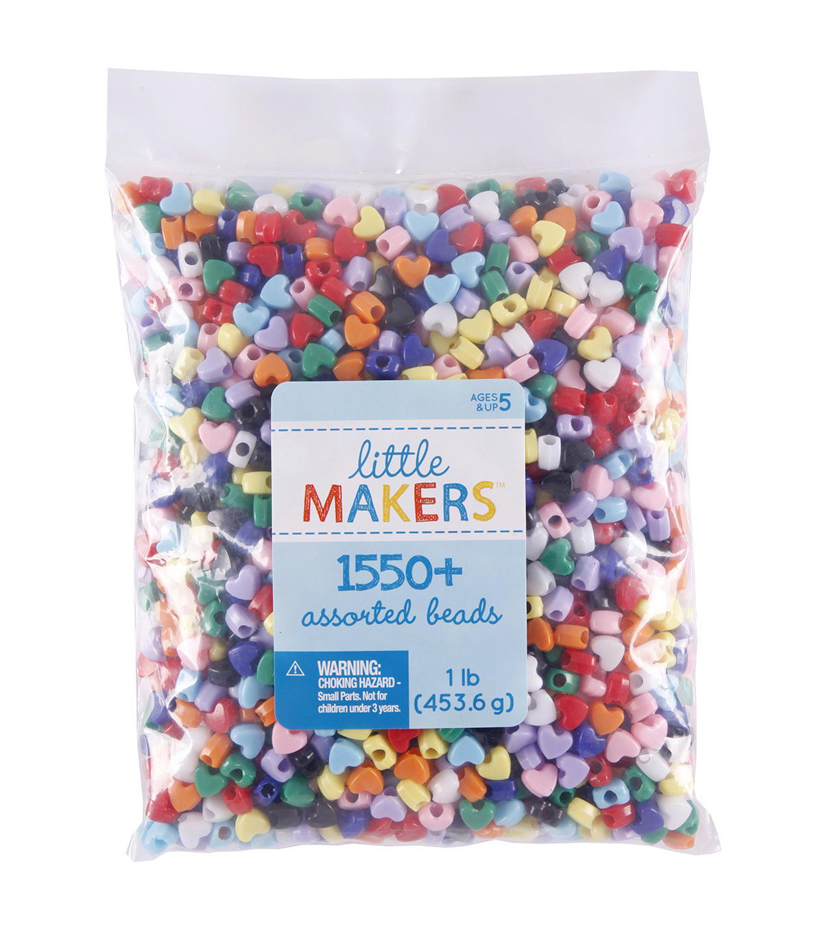 Giant 1Lb Multi Color Pony Beads-Hearts
