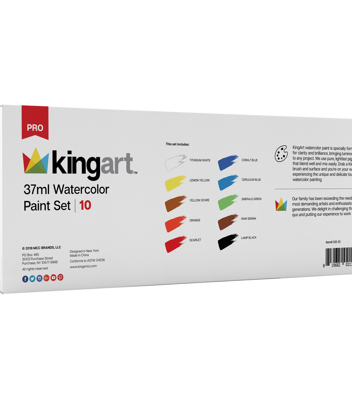 KINGART 37ml Paint Set 10/Pkg-Watercolor