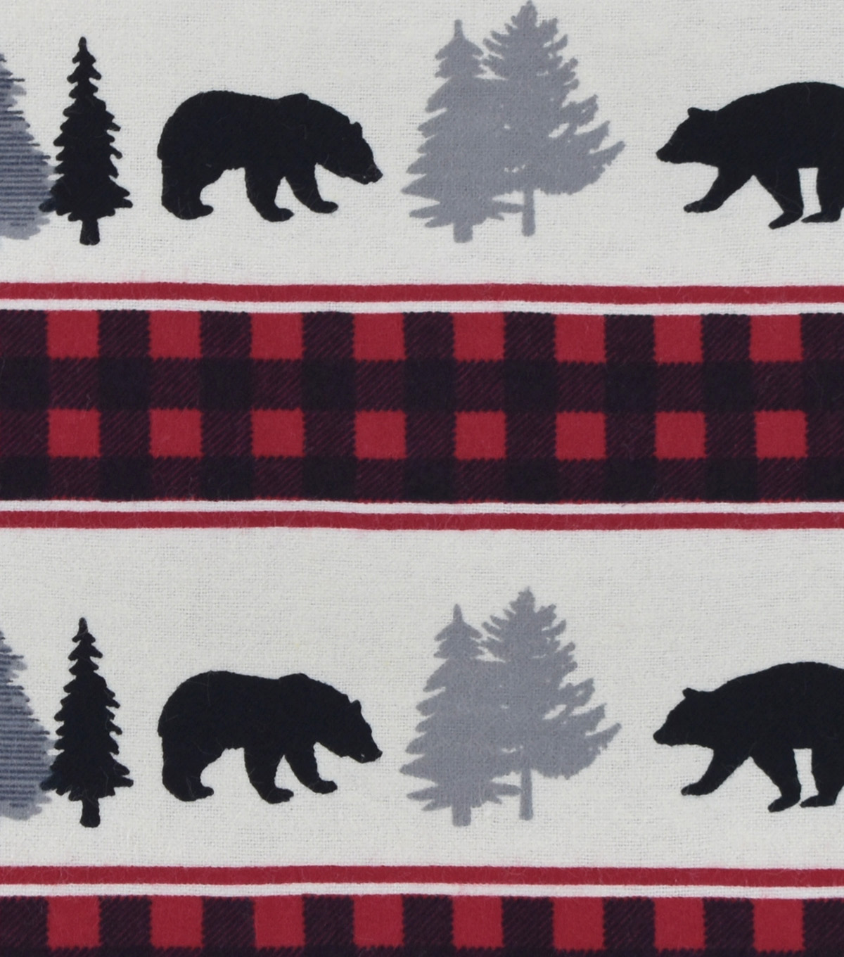 Snuggle Flannel Fabric -Black Bear Buffalo Check Stripe