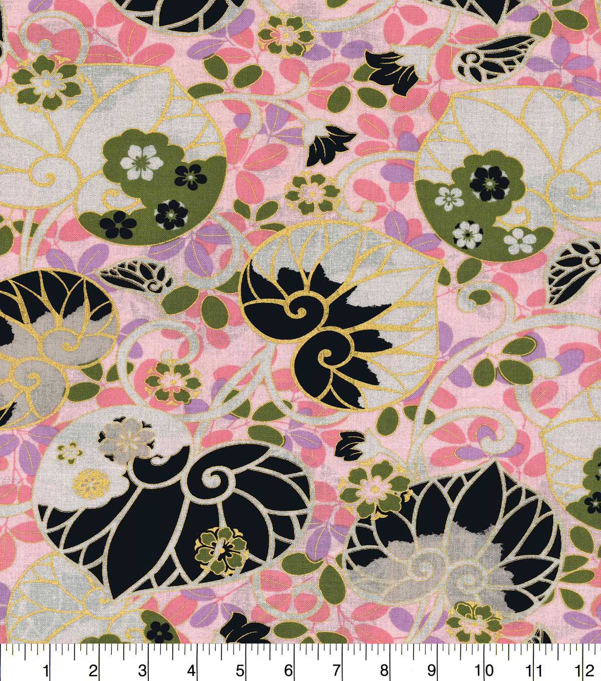 Asian Inspired Cotton Fabric 44\u0022-Floral Fans Metallic
