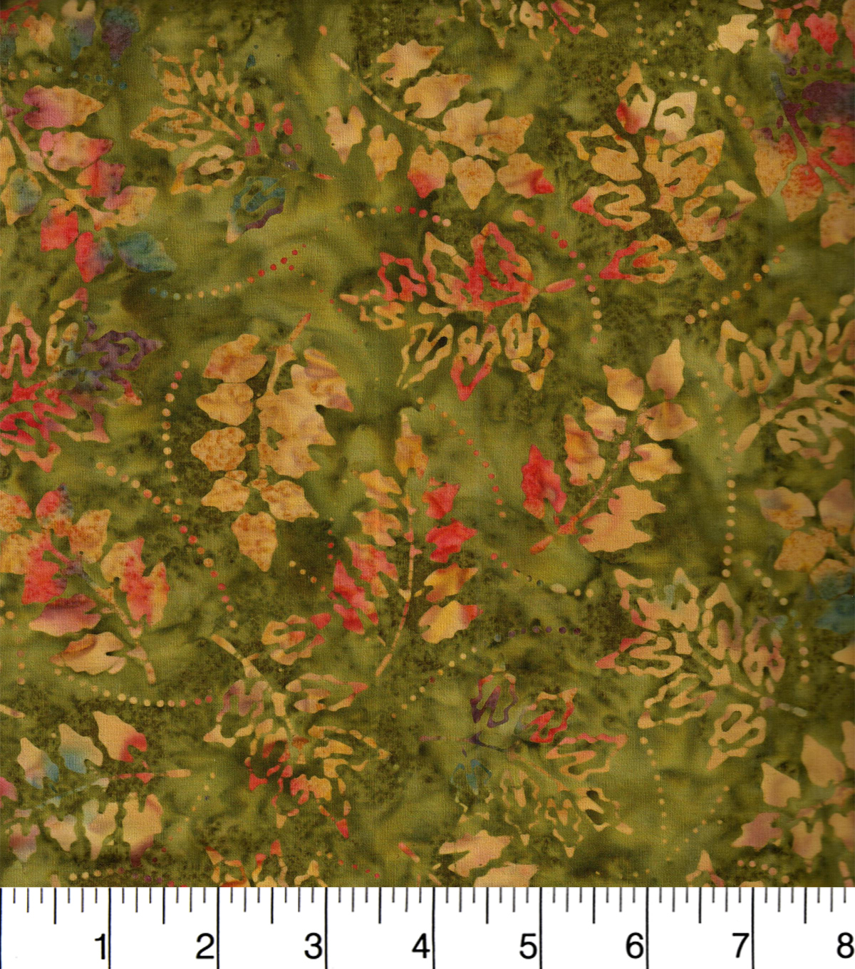 Legacy Studio Indonesian Batiks Cotton Fabric -Tossed Leaves Green