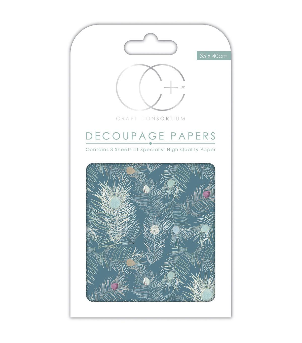 Craft Consortium 3pcs 13.75\u0027\u0027x15.75\u0027\u0027 Decoupage Papers-Peacock Blue