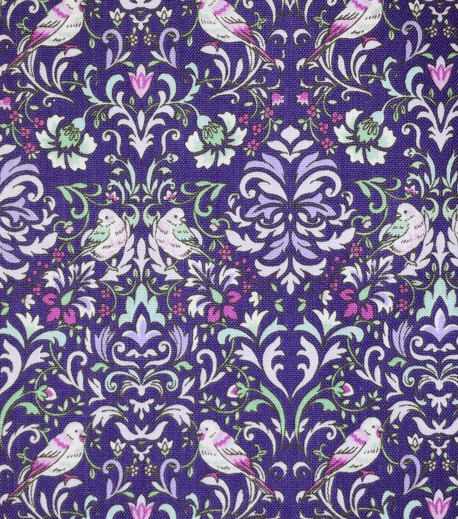 Premium Cotton Fabric-Maeve Dark Purple Bird Damask
