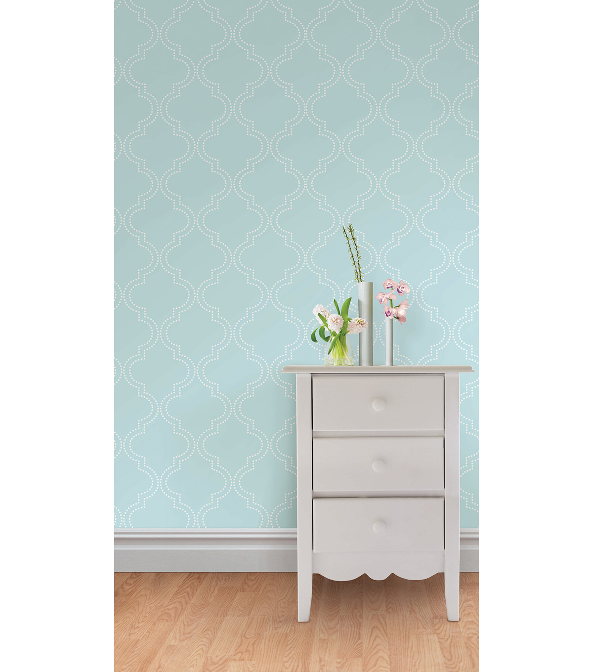 WallPopsNuWallpaper Blue Quatrefoil Peel And Stick Wallpaper