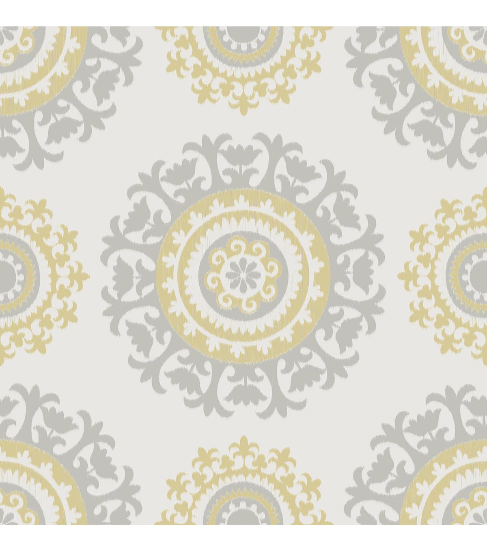 WallPops NuWallpaper Gray And Yellow Suzani Peel Stick Wallpaper