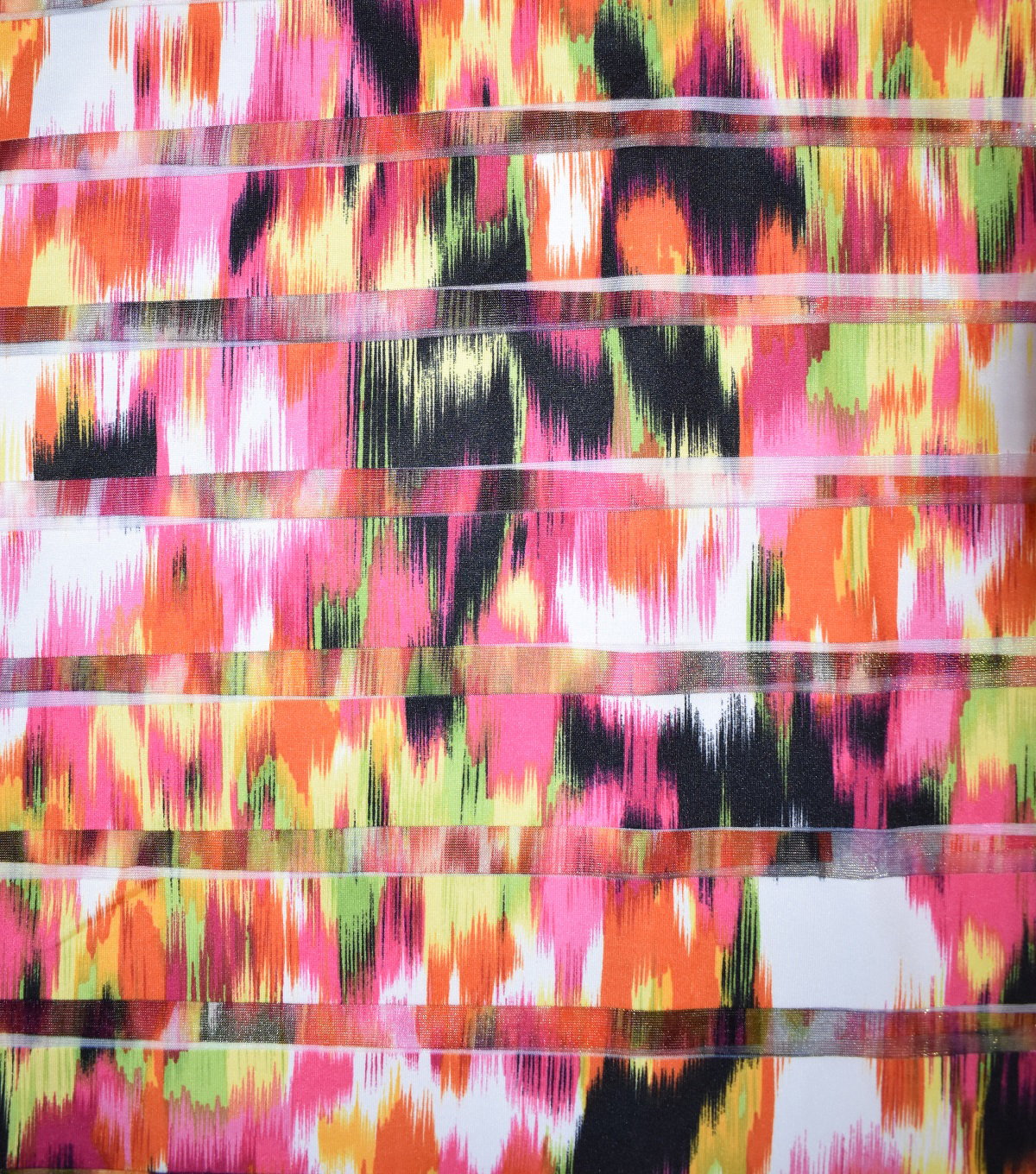Fast Fashion Burnout Spandex Fabric-Geranium Aztec