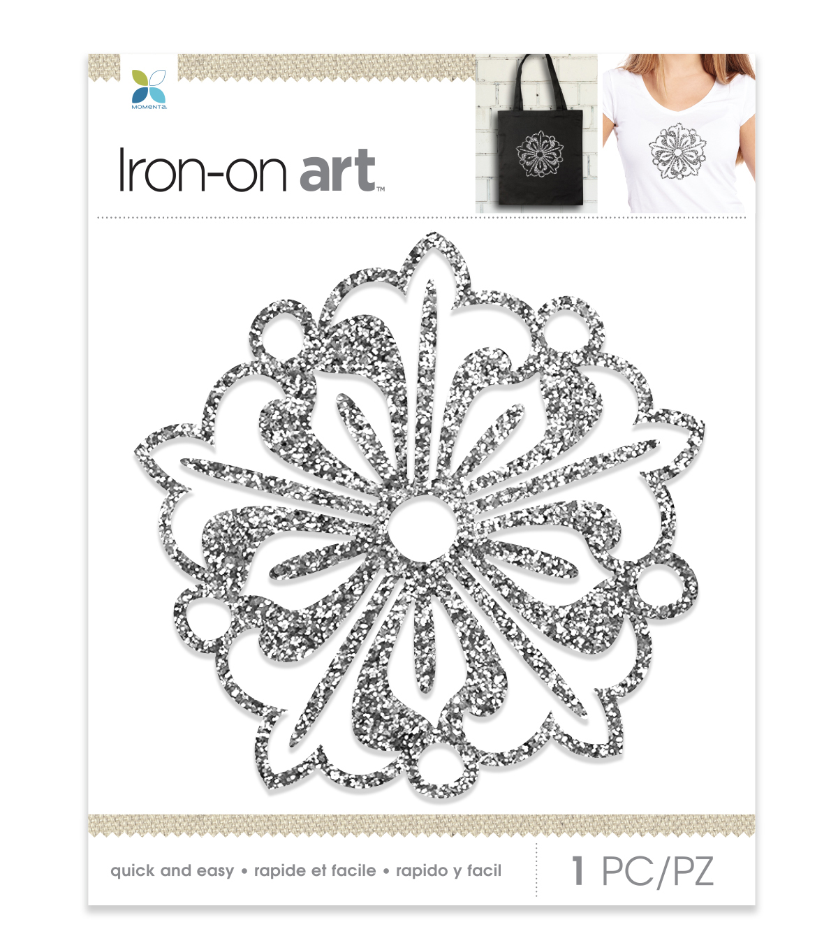Momenta Medallion Glitter Iron-on Art-Silver