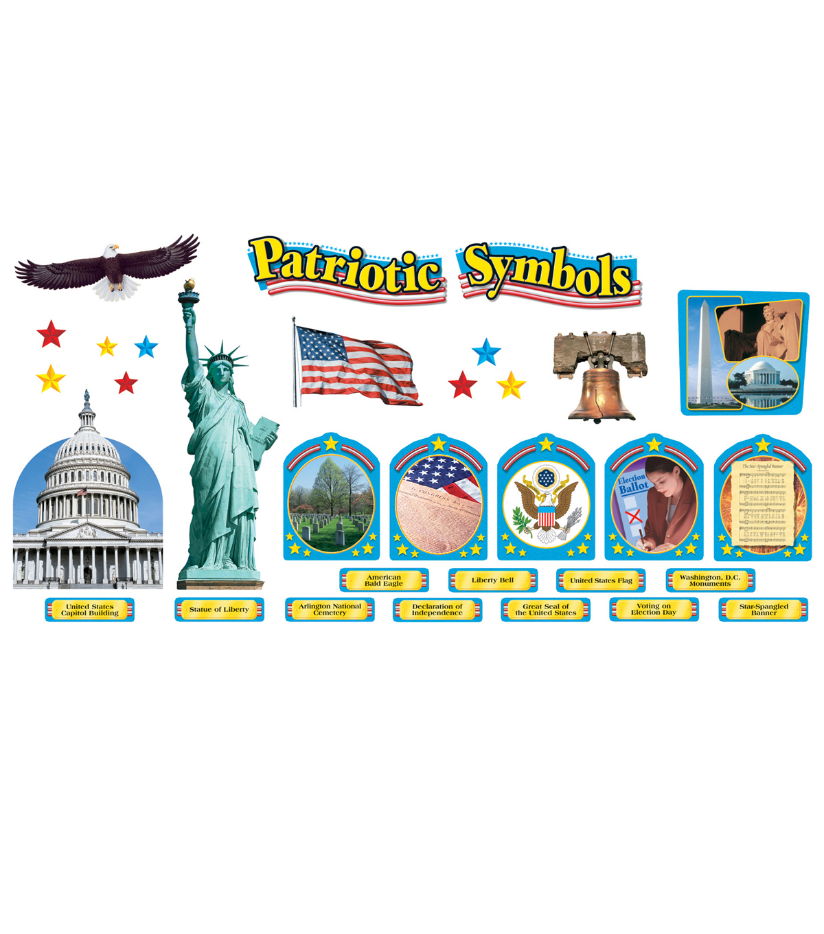 TREND enterprises, Inc. Patriotic Symbols Bulletin Board Set, 2 Sets