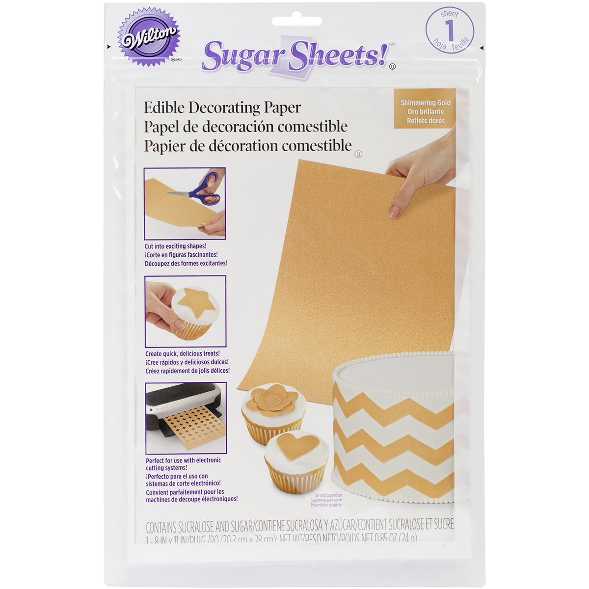 Wilton Sugar Sheet 8\u0022X11\u0022 1/Pkg-Gold Shimmer