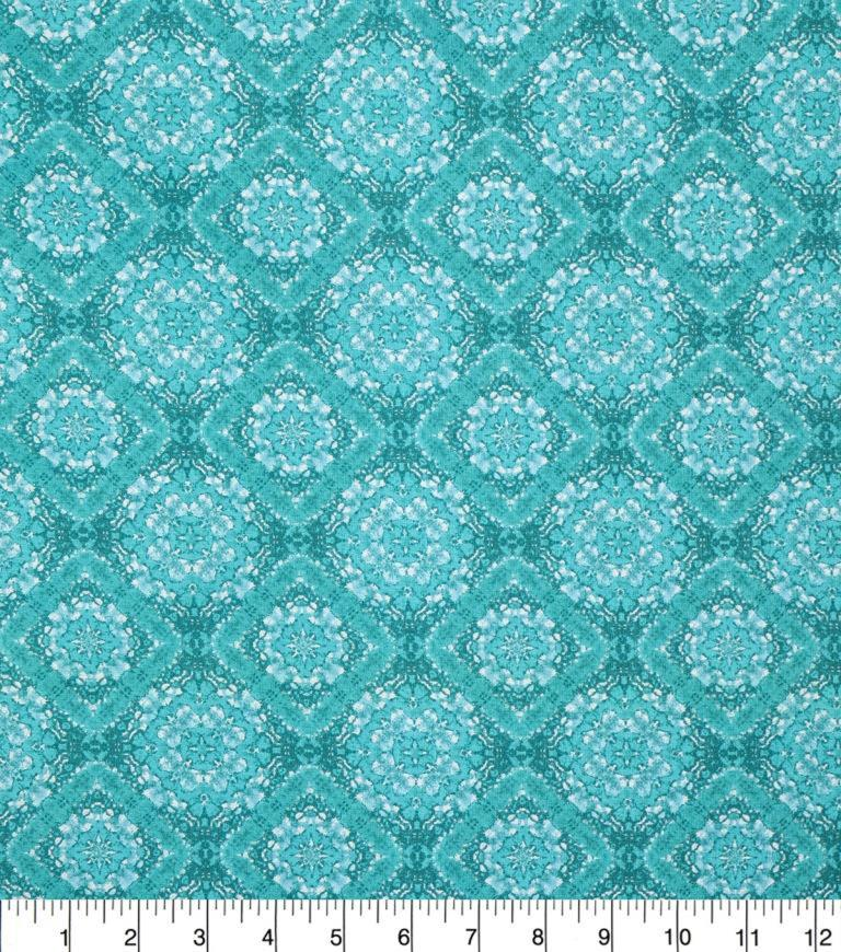 Keepsake Calico Cotton Fabric 43\u0027\u0027-Teal Large Diamond Medallion