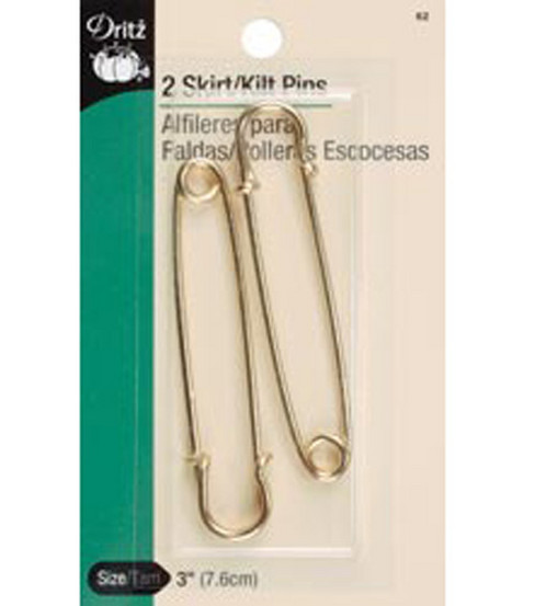 Dritz 3\u0022 Skirt Pins 2pcs Gilt