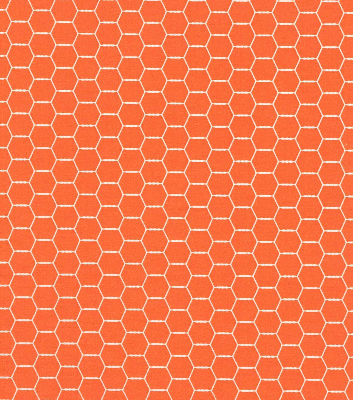 Quilter\u0027s Showcase Cotton Fabric -Orange Hexagon Wire