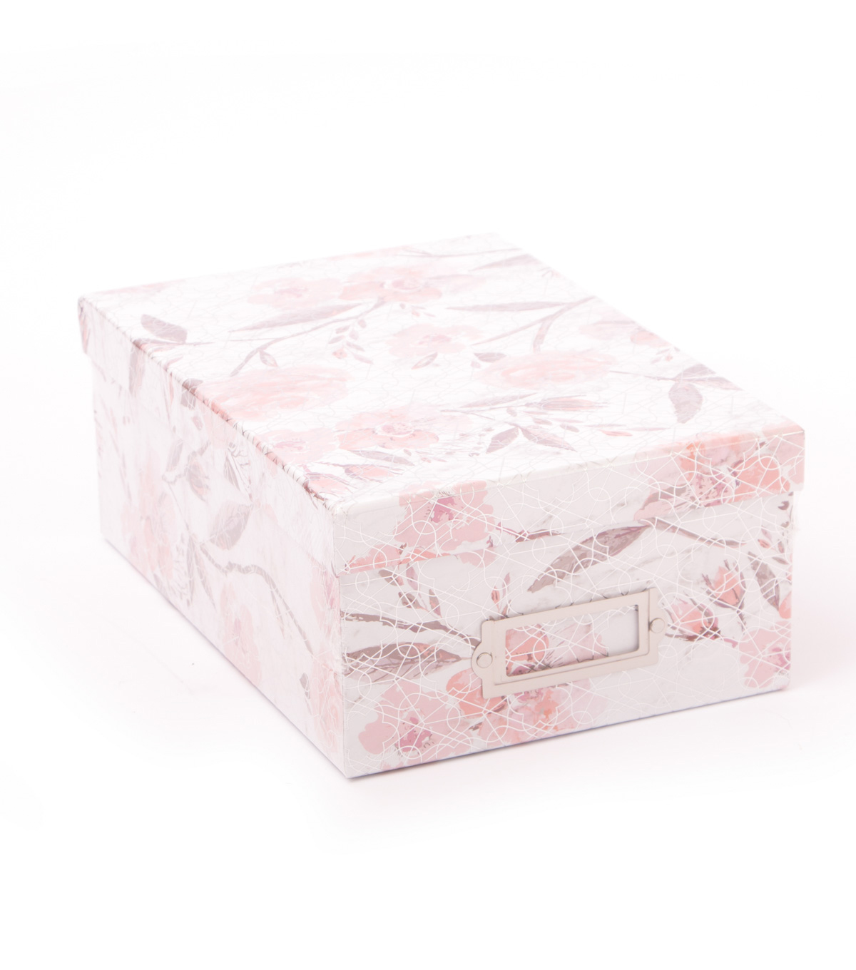 DCWV Photo Storage Box-Floral With Silver Foil Accents
