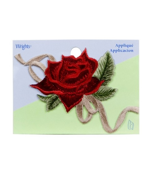 Wrights Iron-On Applique-Wine Rose