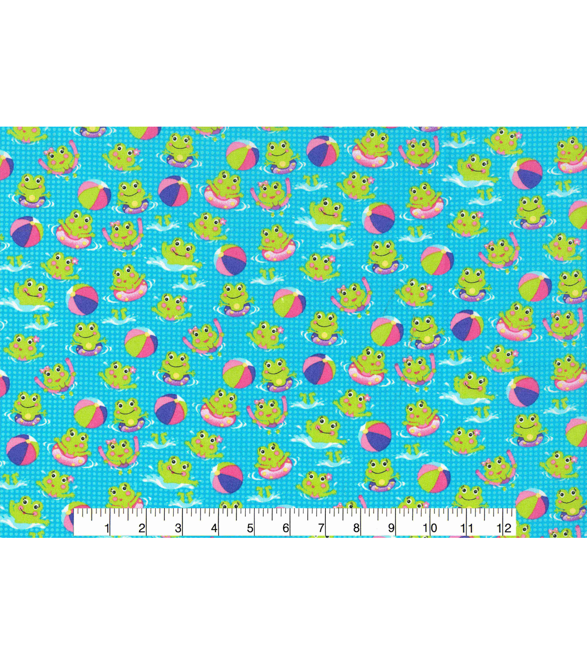 Novelty Cotton Fabric 43\u0027\u0027-Froggie Pool Time Fun
