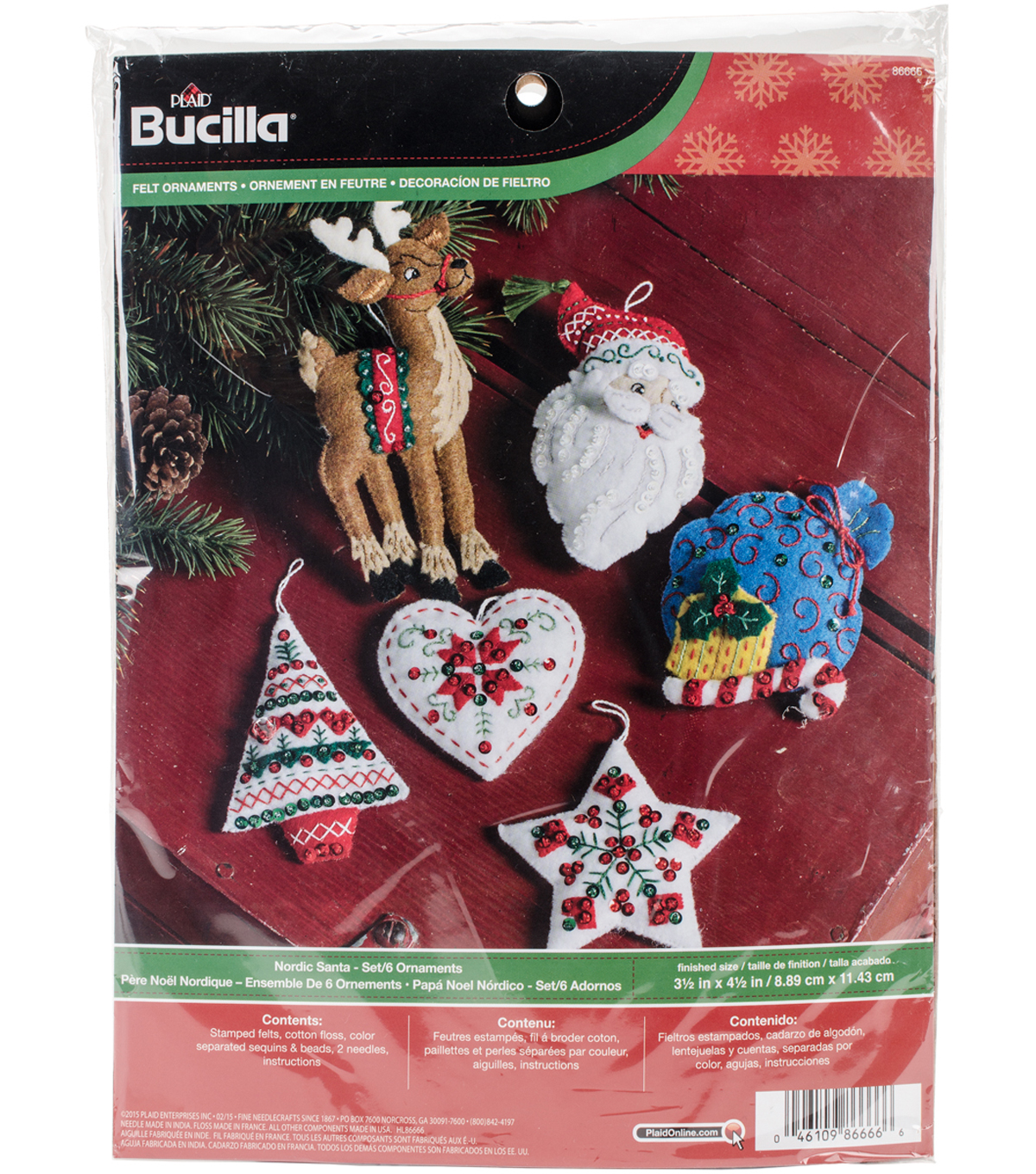 Nordic Santa Ornaments Felt Applique Kit 3.5\u0022X4.5\u0022 Set Of 6