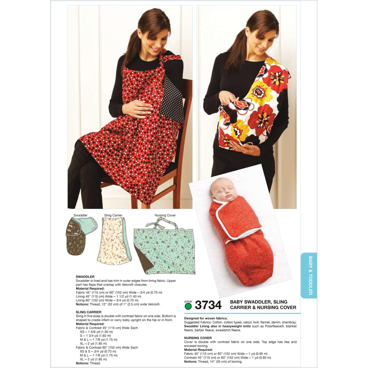 Swaddler, Sling Carrier & Nursing Cover-SLING: XS-S-M-L-XL Pattern ...