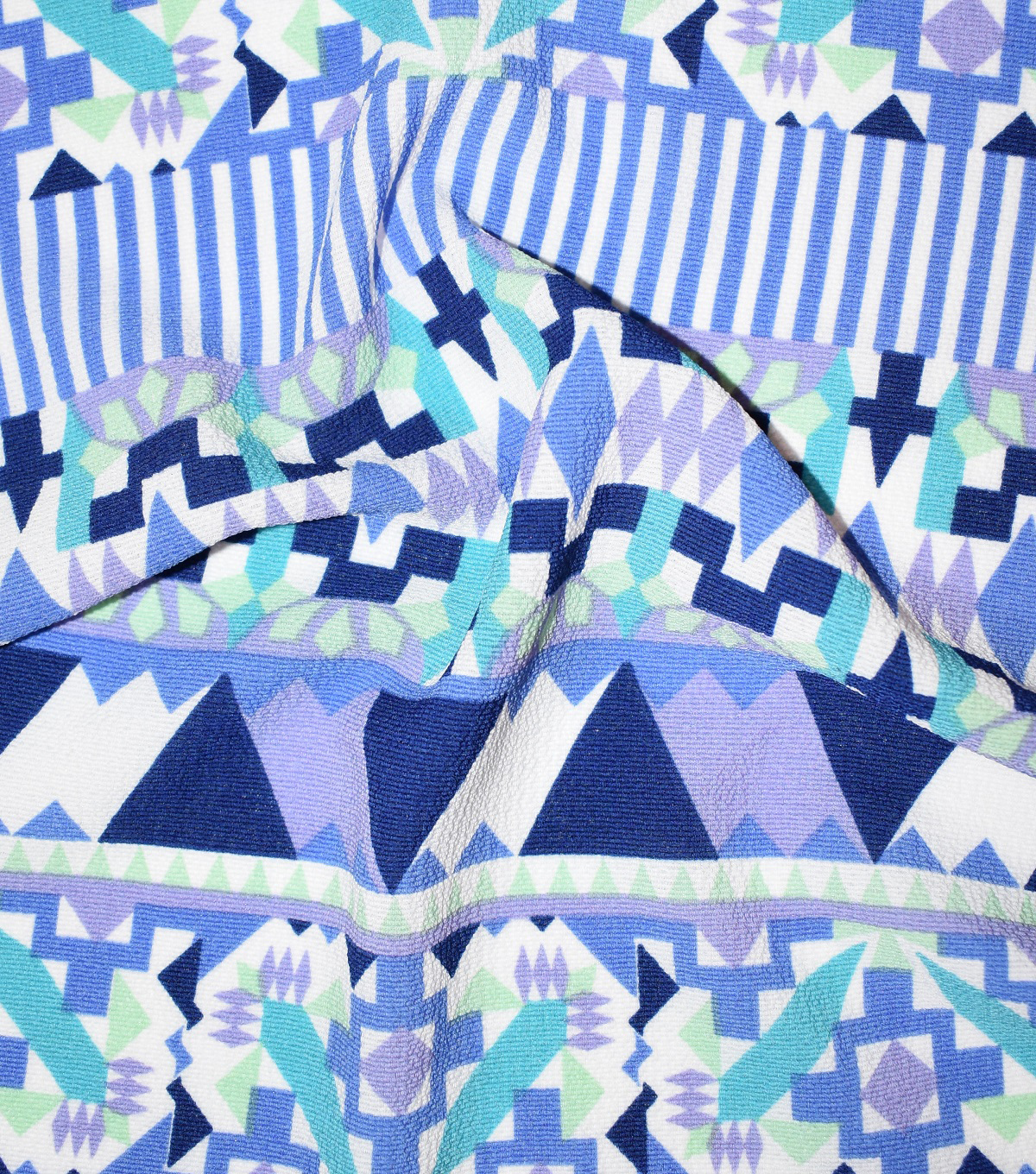 Fast Fashion Bubble Crepe Knit Fabric-Lagoon Mantra