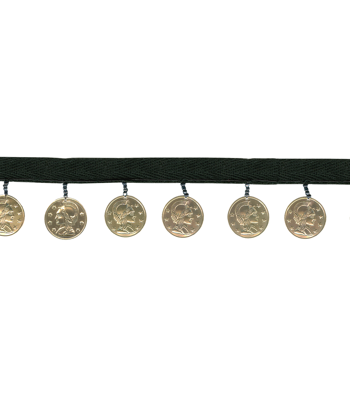 1 3/8\u0022 Black Band Gold Coins Apparel Trim