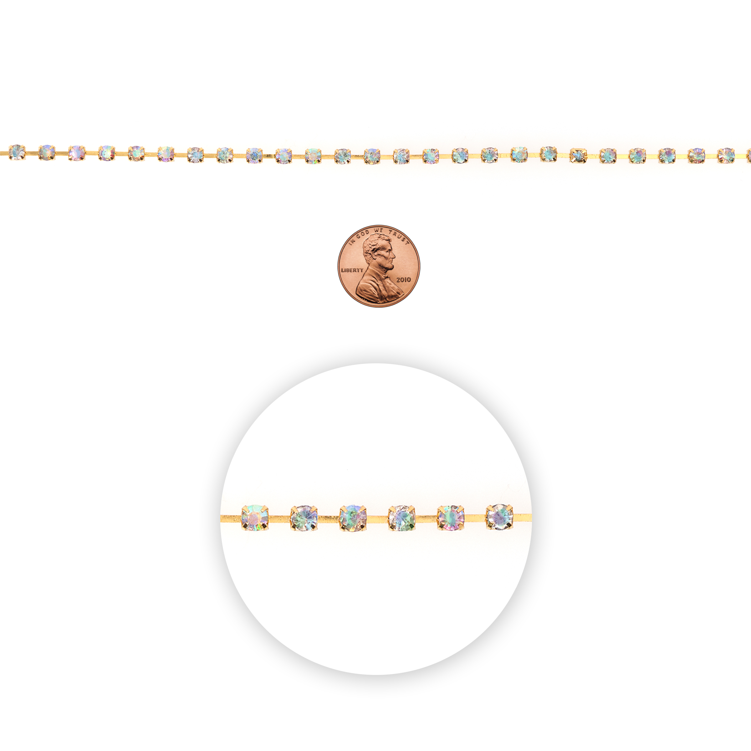 Blue Moon Beads Chain, Box with Rhinestones, 4mm, Gold with AB Stones