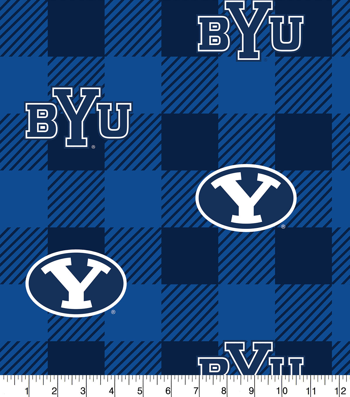 Bringham Young University Cougars Fleece Fabric-Buffalo Plaid