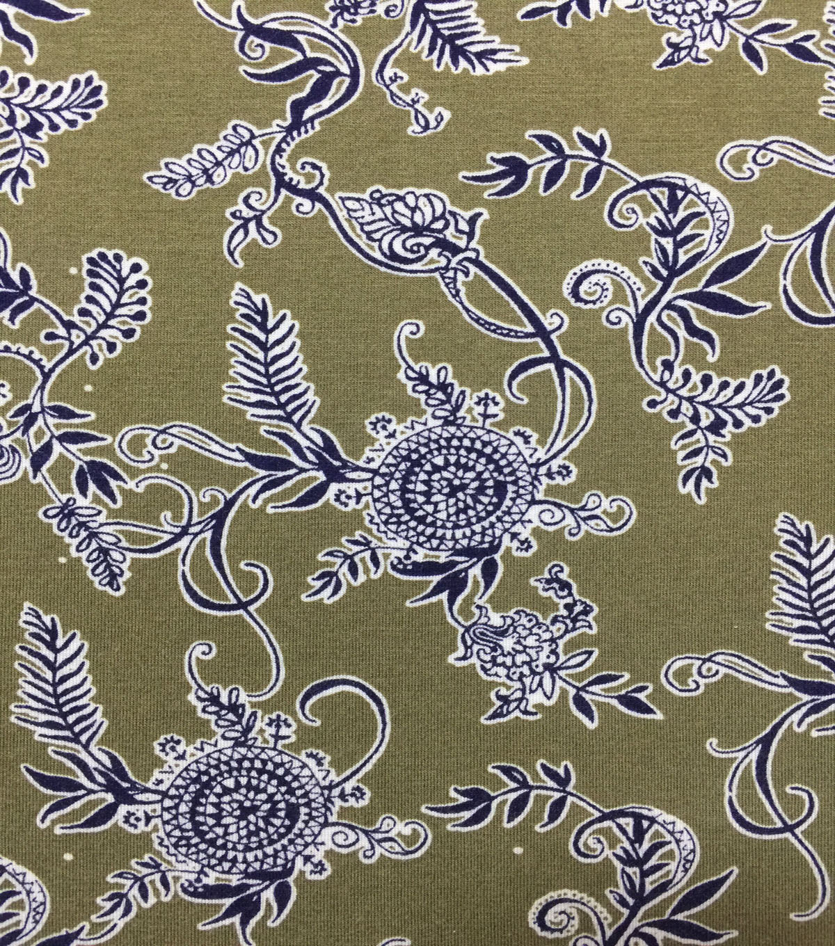 Knit Prints Rayon Spandex Fabric-Olive Paisley Floral