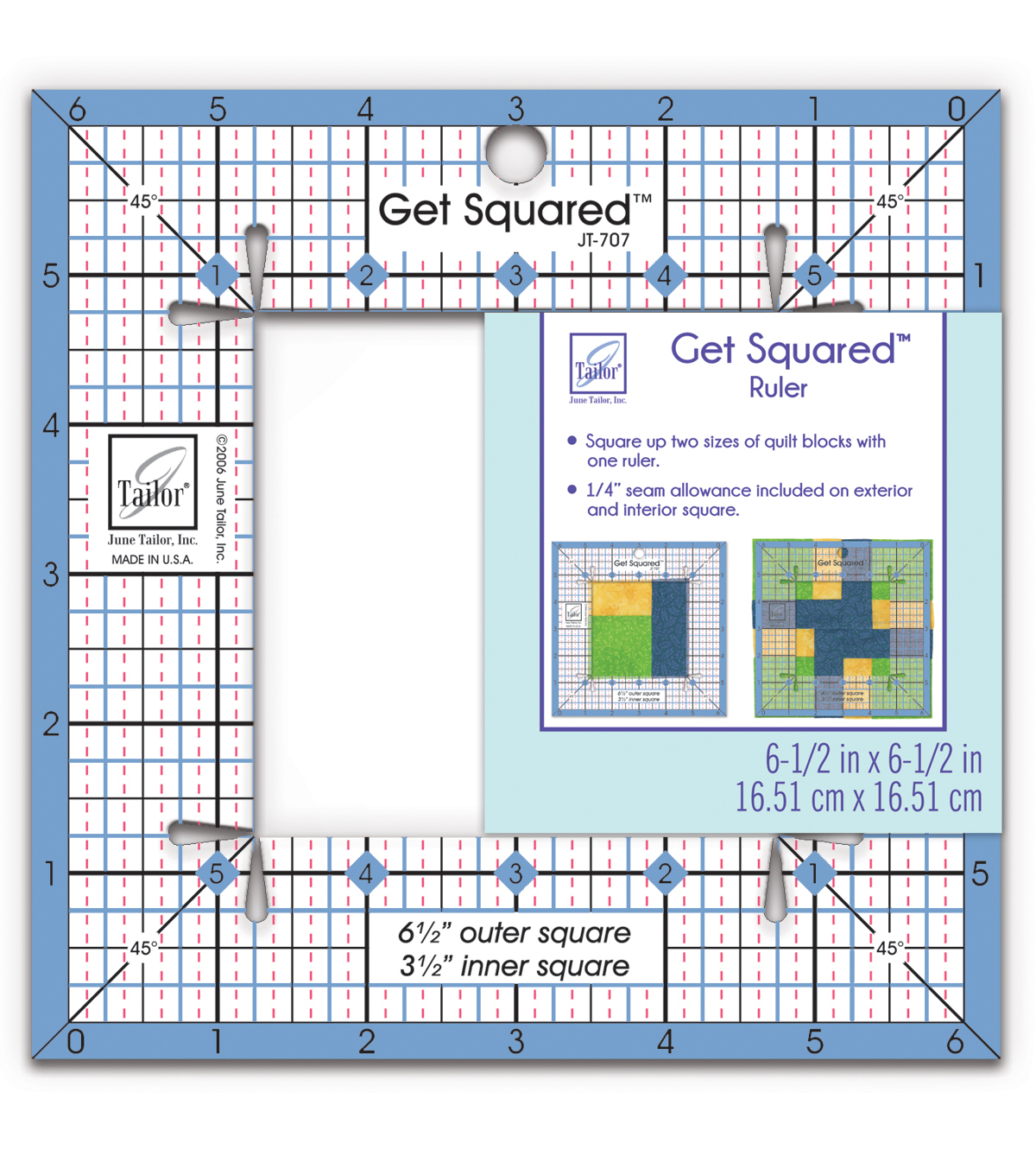 June Tailor Get Squared Ruler-6-1/2\u0022