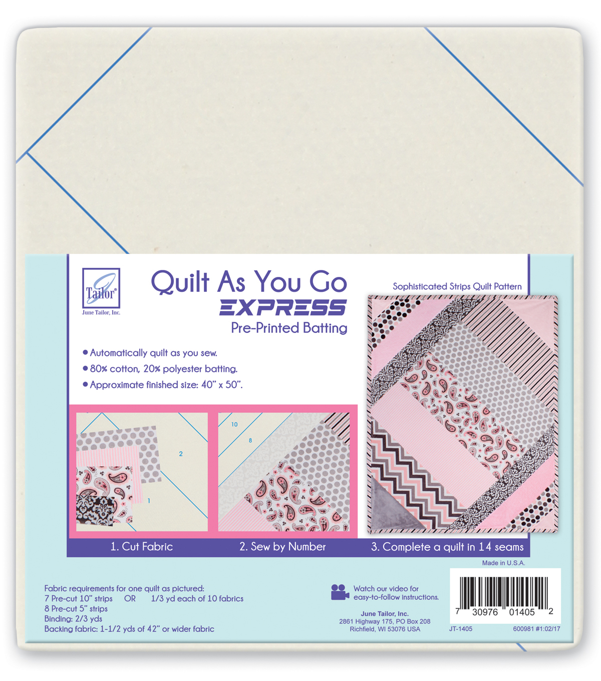 June Tailor Quilt As You Go Express Batting-Sophisticated Strips