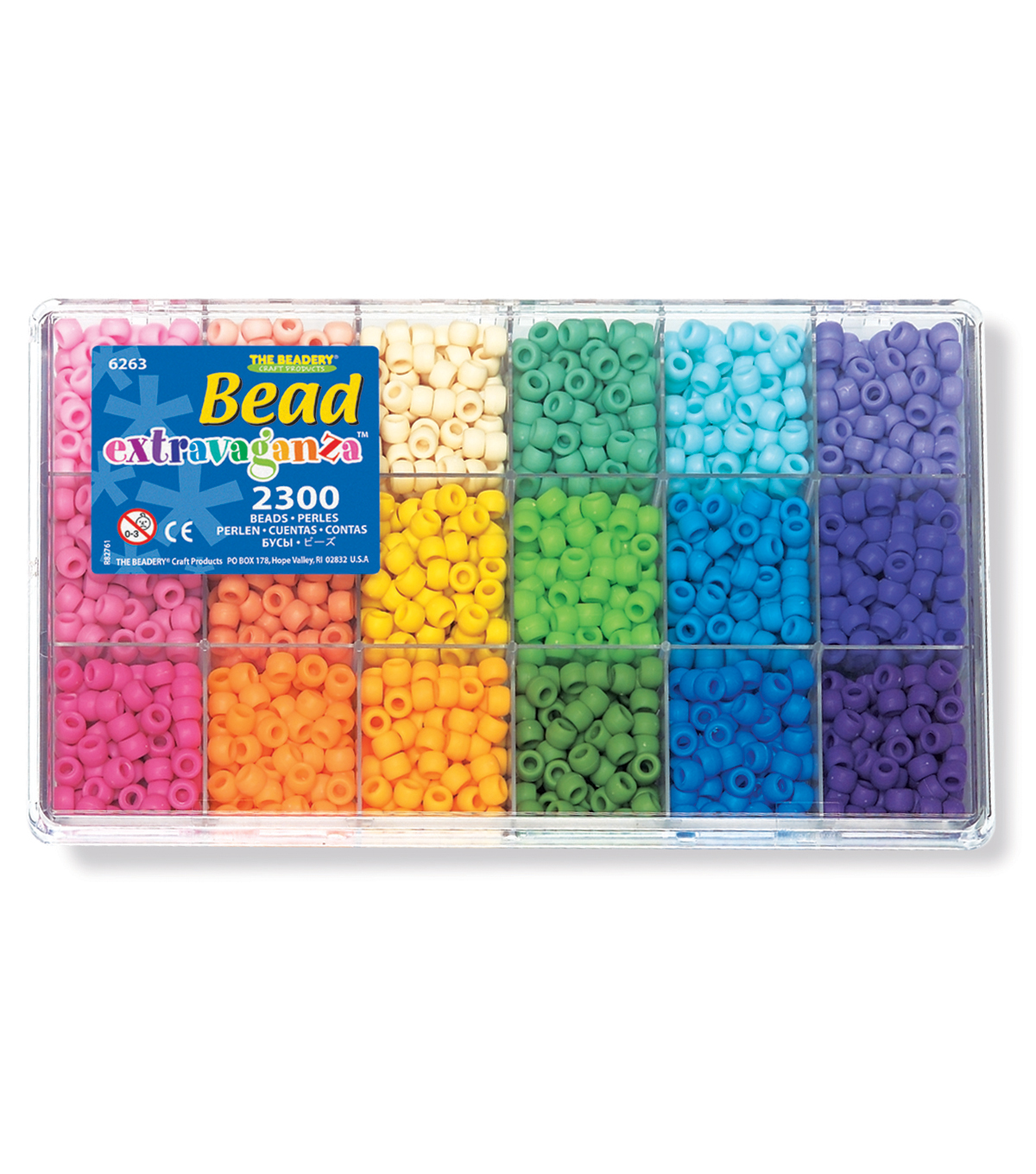 The Beadery Bead Extravaganza 2300 pk Pony Bead Box-Soft Rainbow  2995243ea4