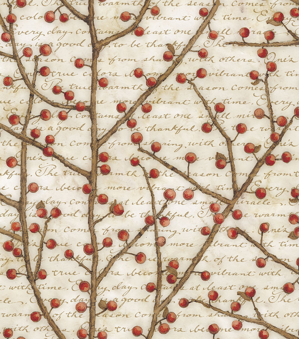 Premium Cotton Quilt Fabric -Berry Vines