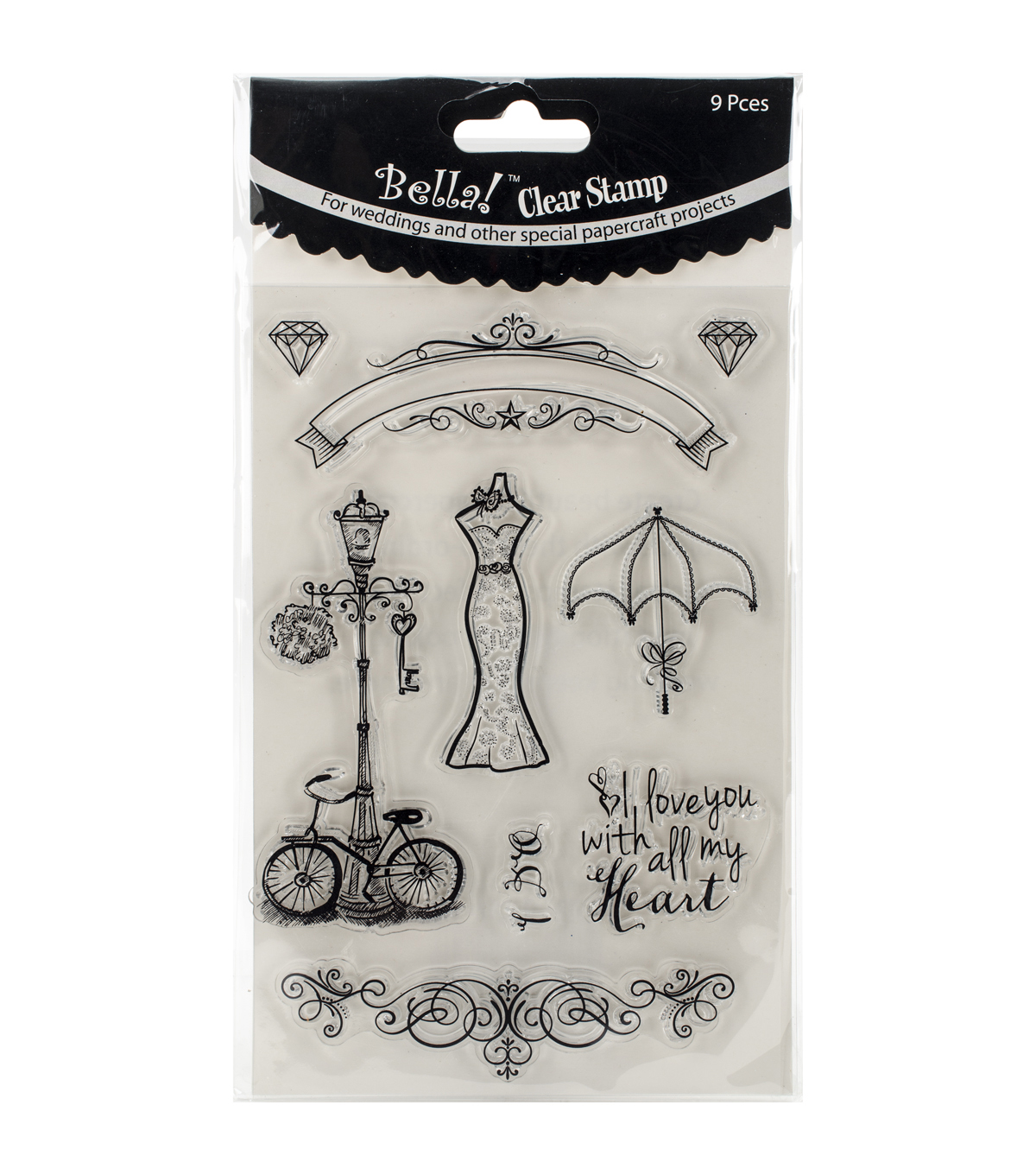 Bella! Wedding Clear Stamps 9 pcs