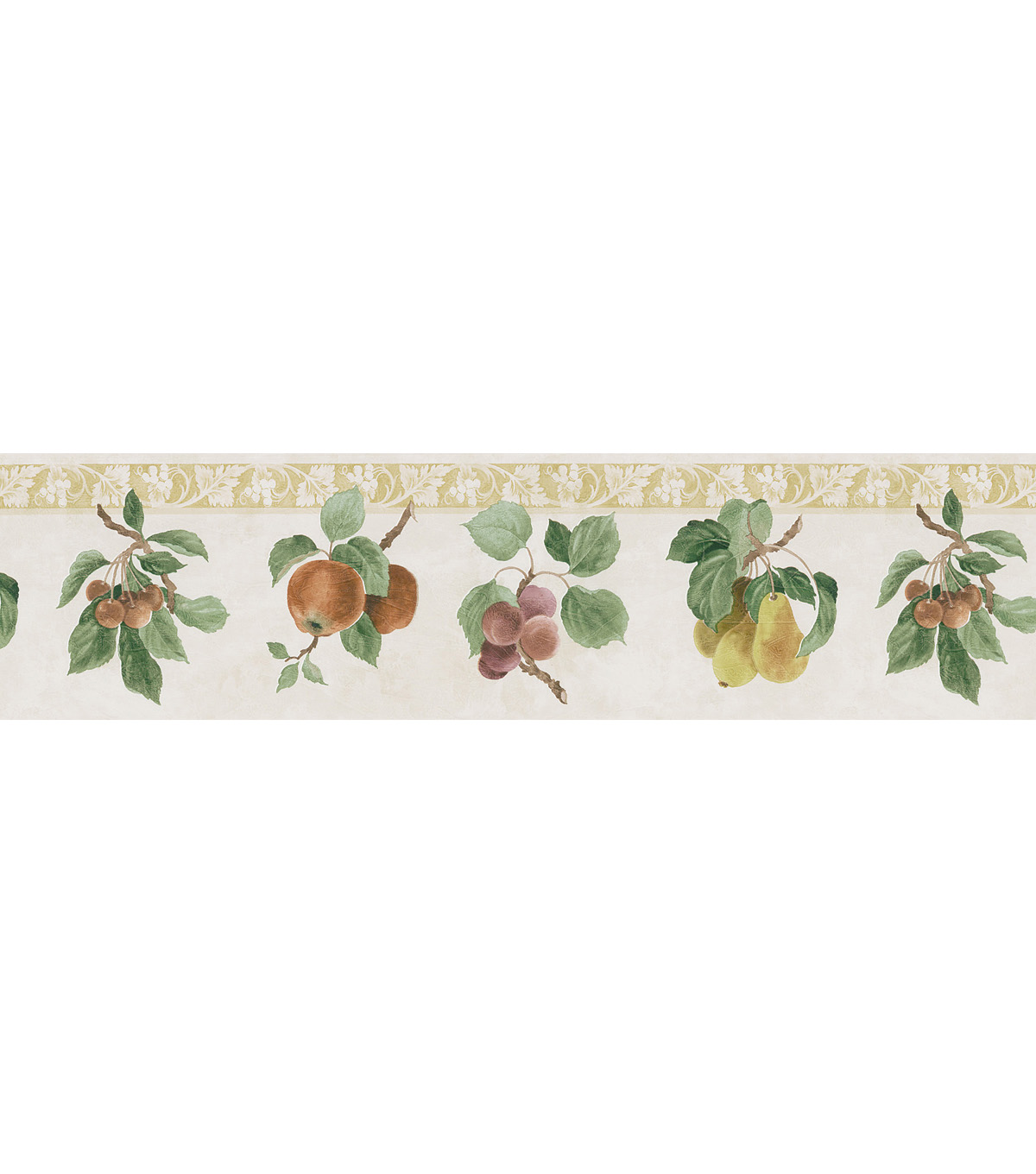 Fruit Print Wallpaper Border, Green Sample