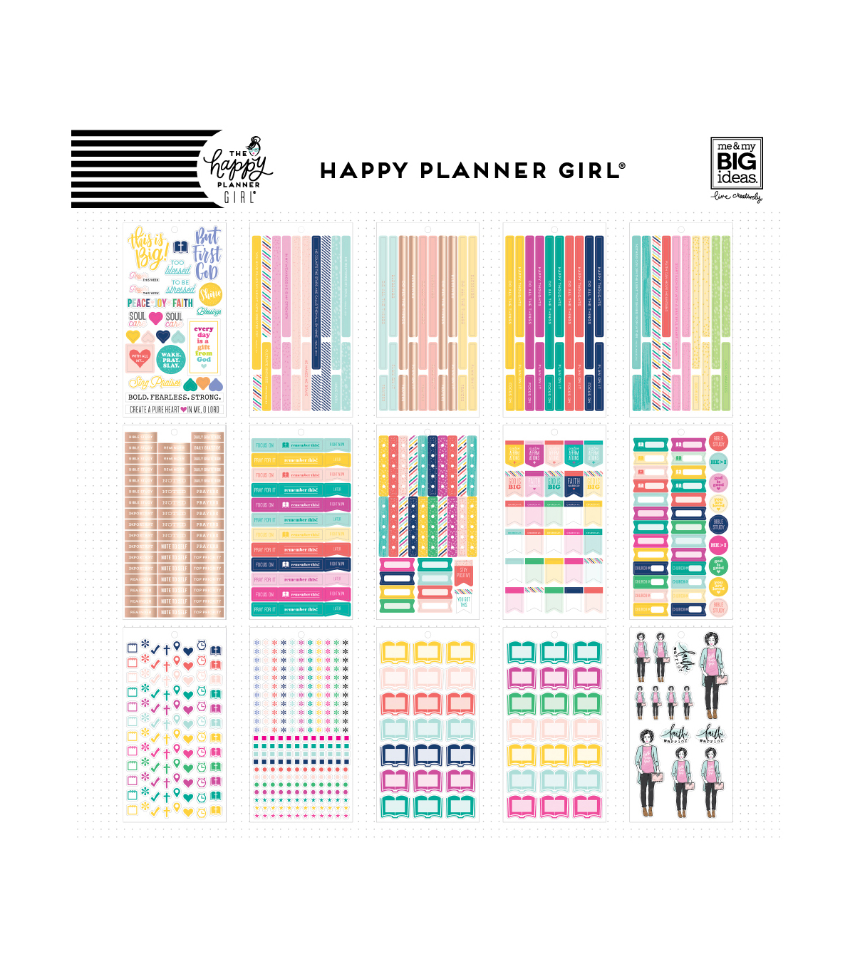 The Happy Planner Girl Value Pack Stickers - Faith Warrior
