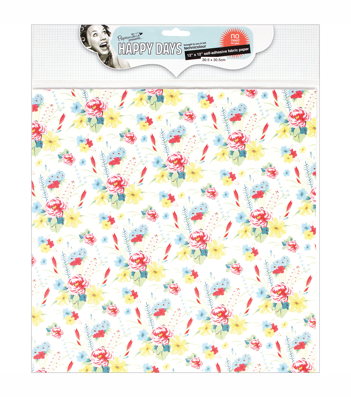 Docrafts Papermania Happy Days Self-Adhesive Fabric Paper