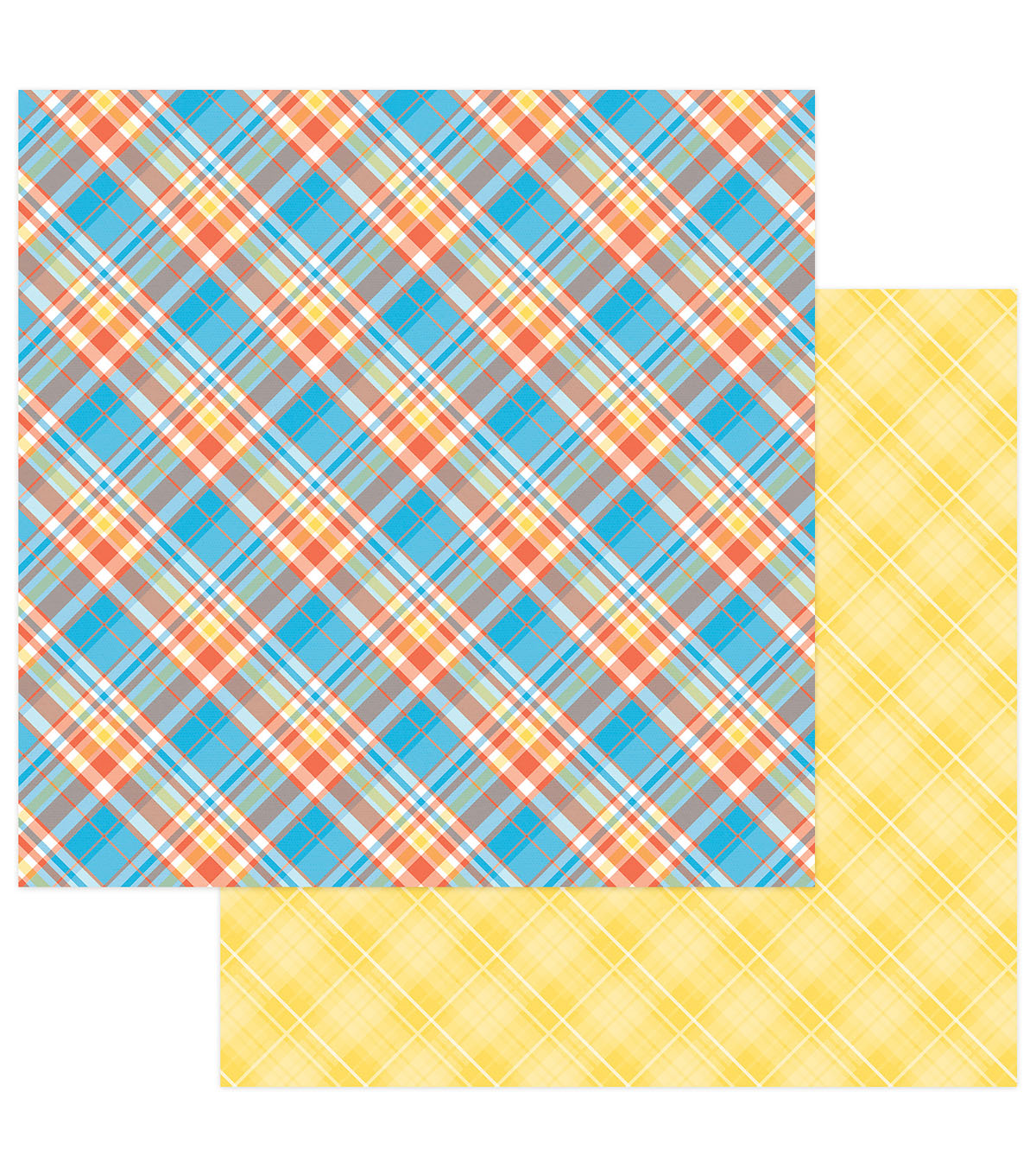 Photoplay Paper Mad 4 Plaid Happy 12\u0027\u0027x12\u0027\u0027 Cardstock-Plaid