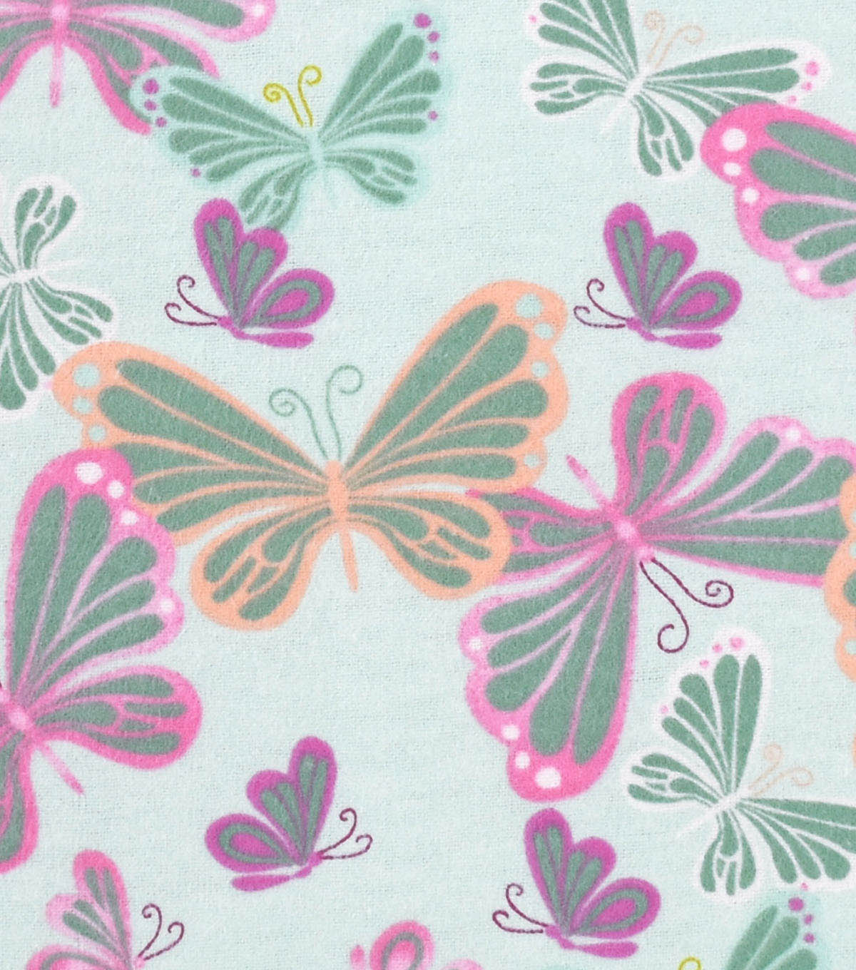 Snuggle Flannel Fabric -Butterflies On Mint
