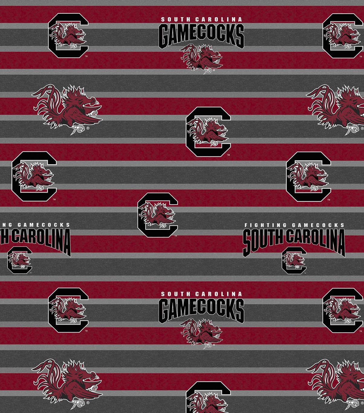 University of South Carolina Gamecocks Fleece Fabric -Polo Stripe