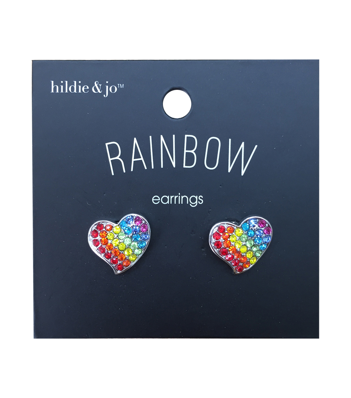 hildie & jo Rainbow Earrings-Heart Rainbow Earring