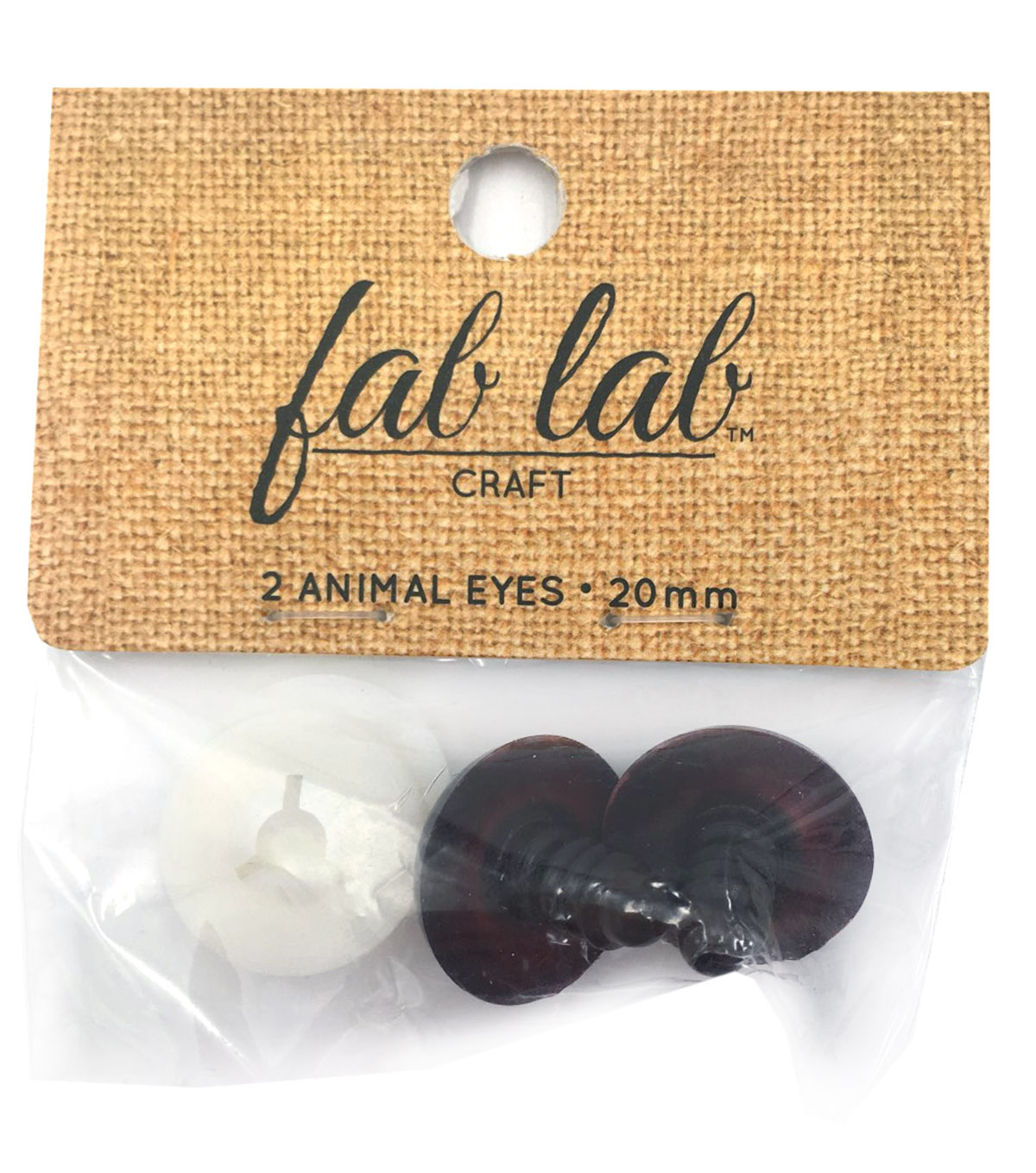 Shank Back Animal Eyes 20mm 2/Pkg-Brown