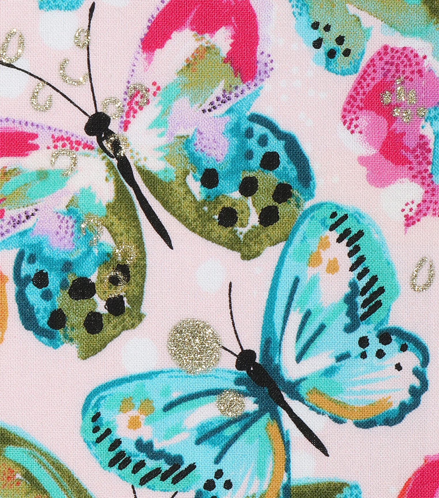 Novelty Cotton Fabric 43\u0027\u0027-Watercolor Butterfly with Glitter