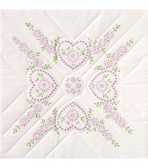 Jack Dempsey Stamped White Quilt Blocks Hearts