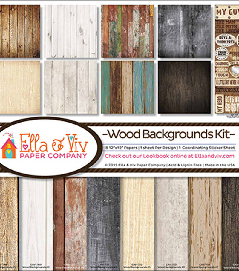 Ella & Viv Collection Kit 12\u0022X12\u0022-Wood Backgrounds