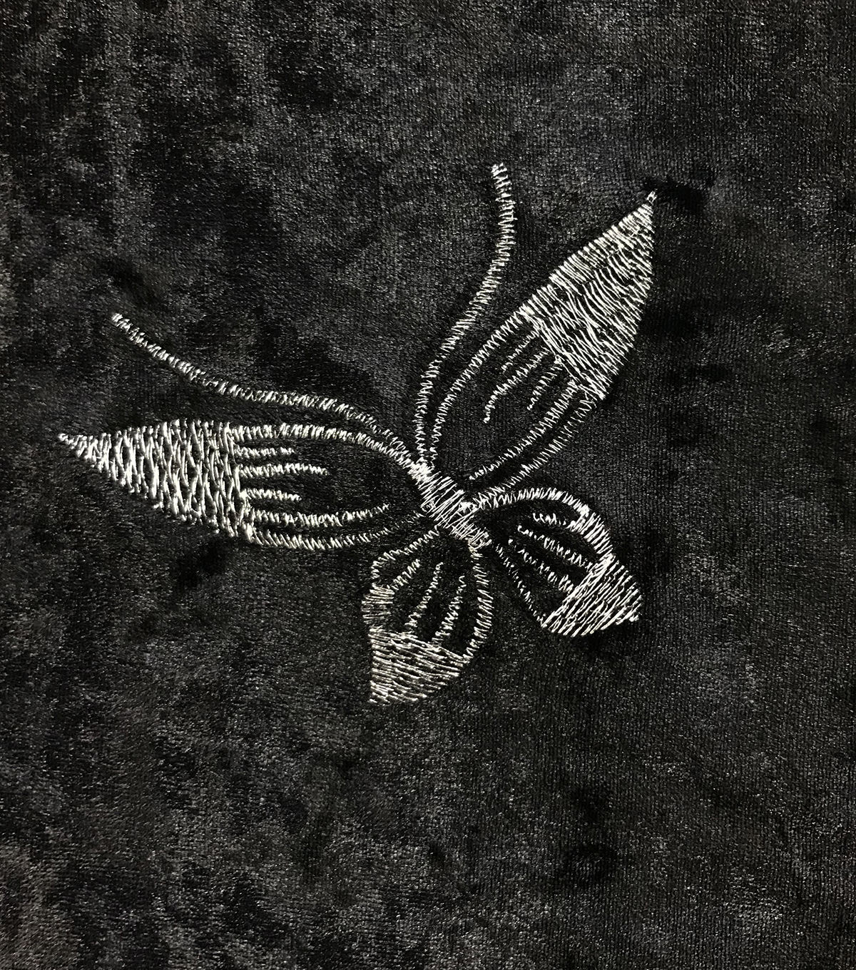 Sew Sweet Velvet Fabric-Embroidery Butterflies on Black
