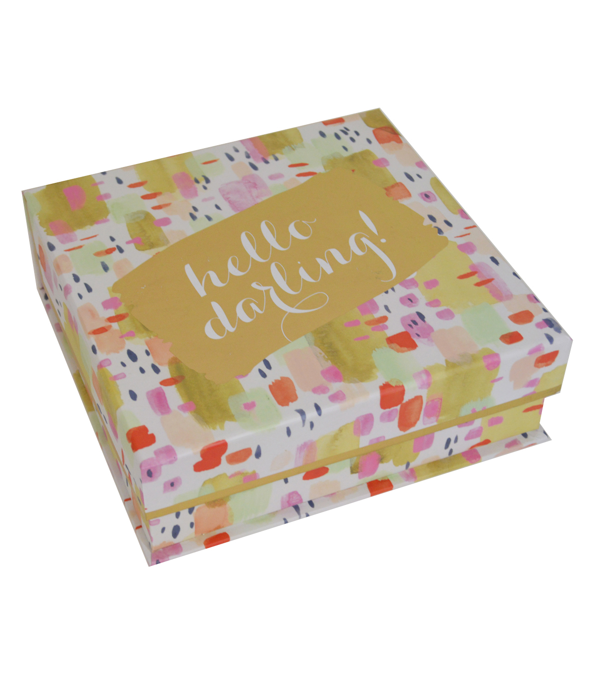 Organizing Essentials Medium Flip Top Box-Watercolor Hello