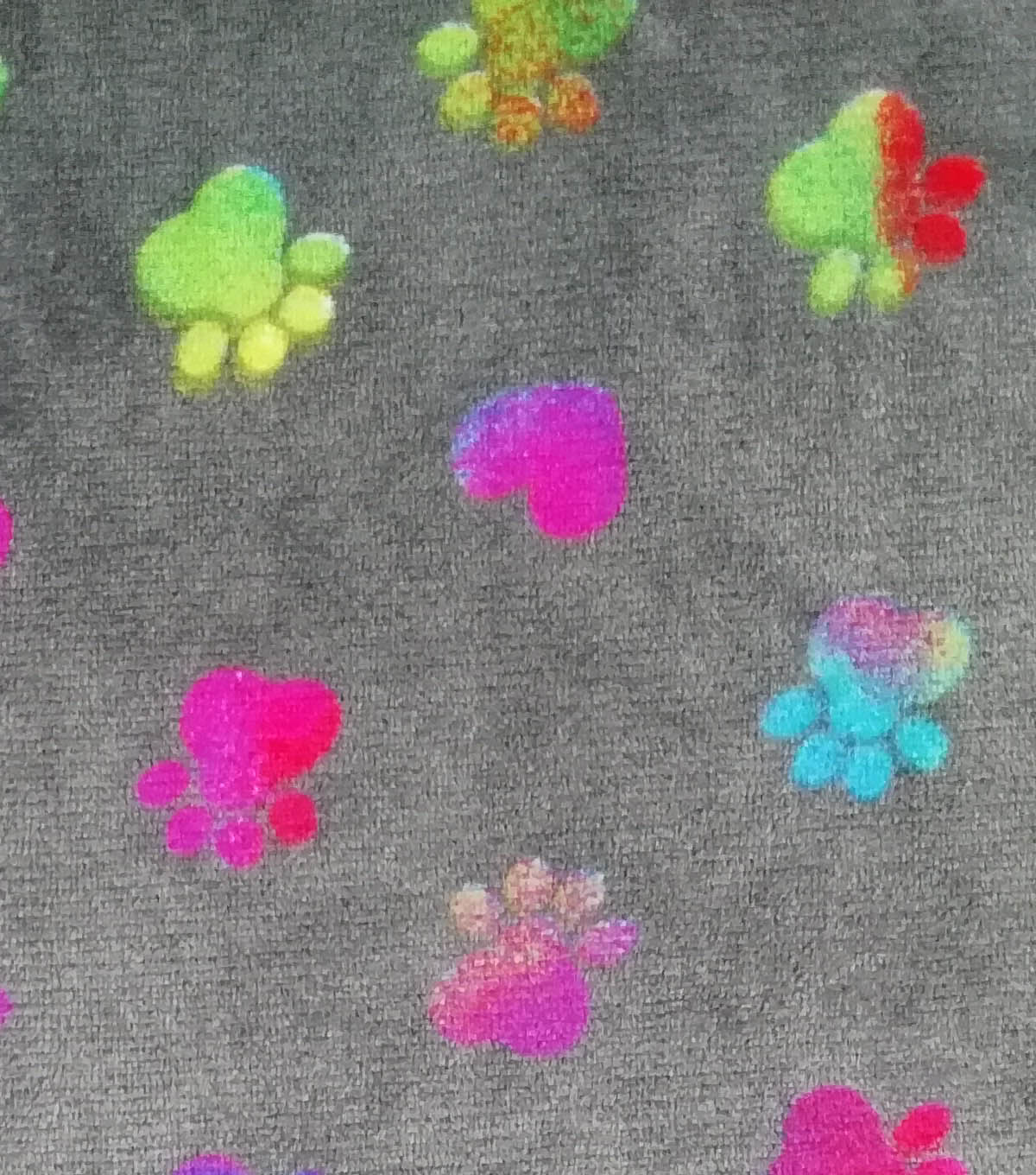 Sew Lush Fabric -Tie Dye Paws & Hearts