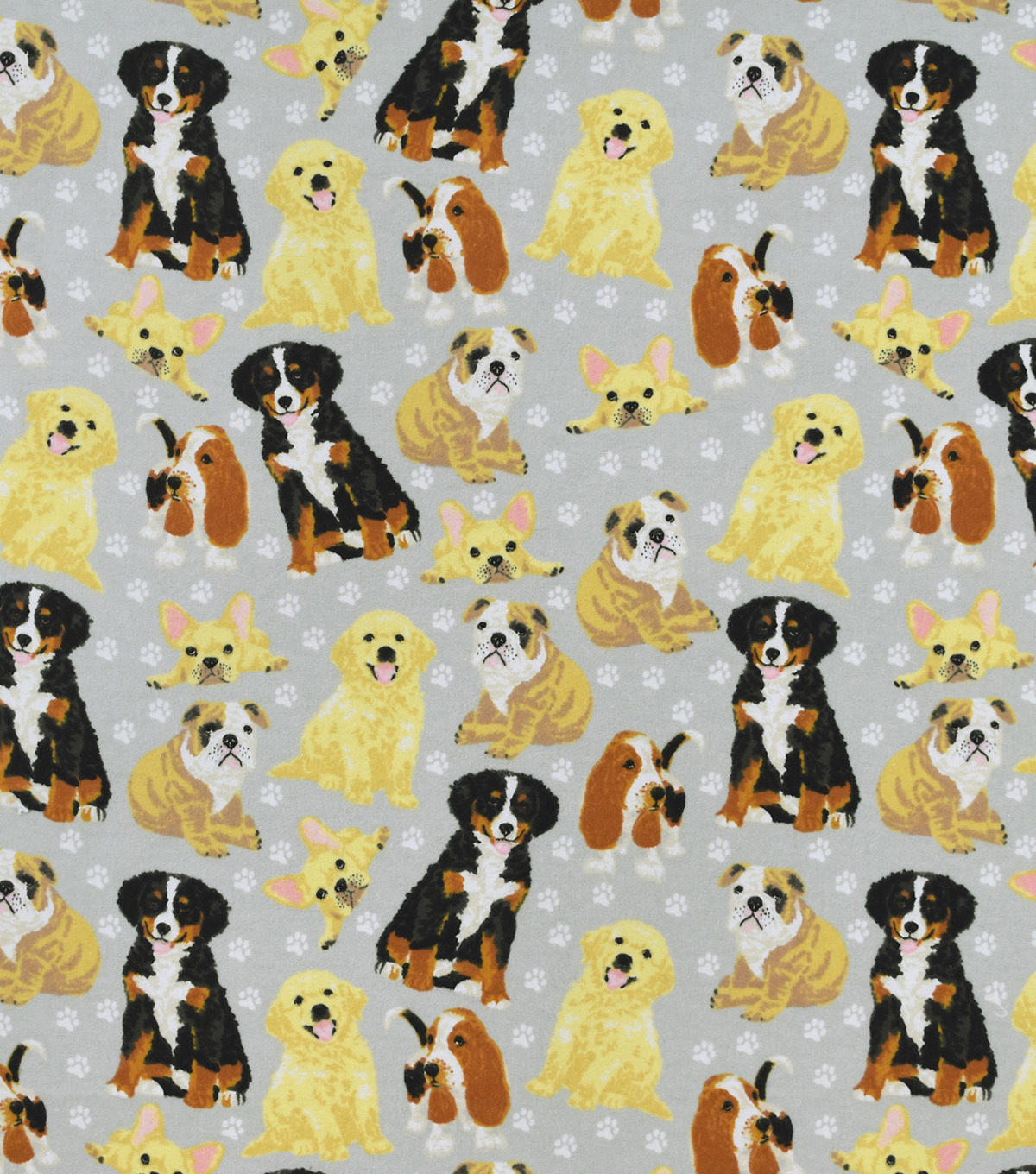 Snuggle Flannel Fabric-Realistic Pups On Gray