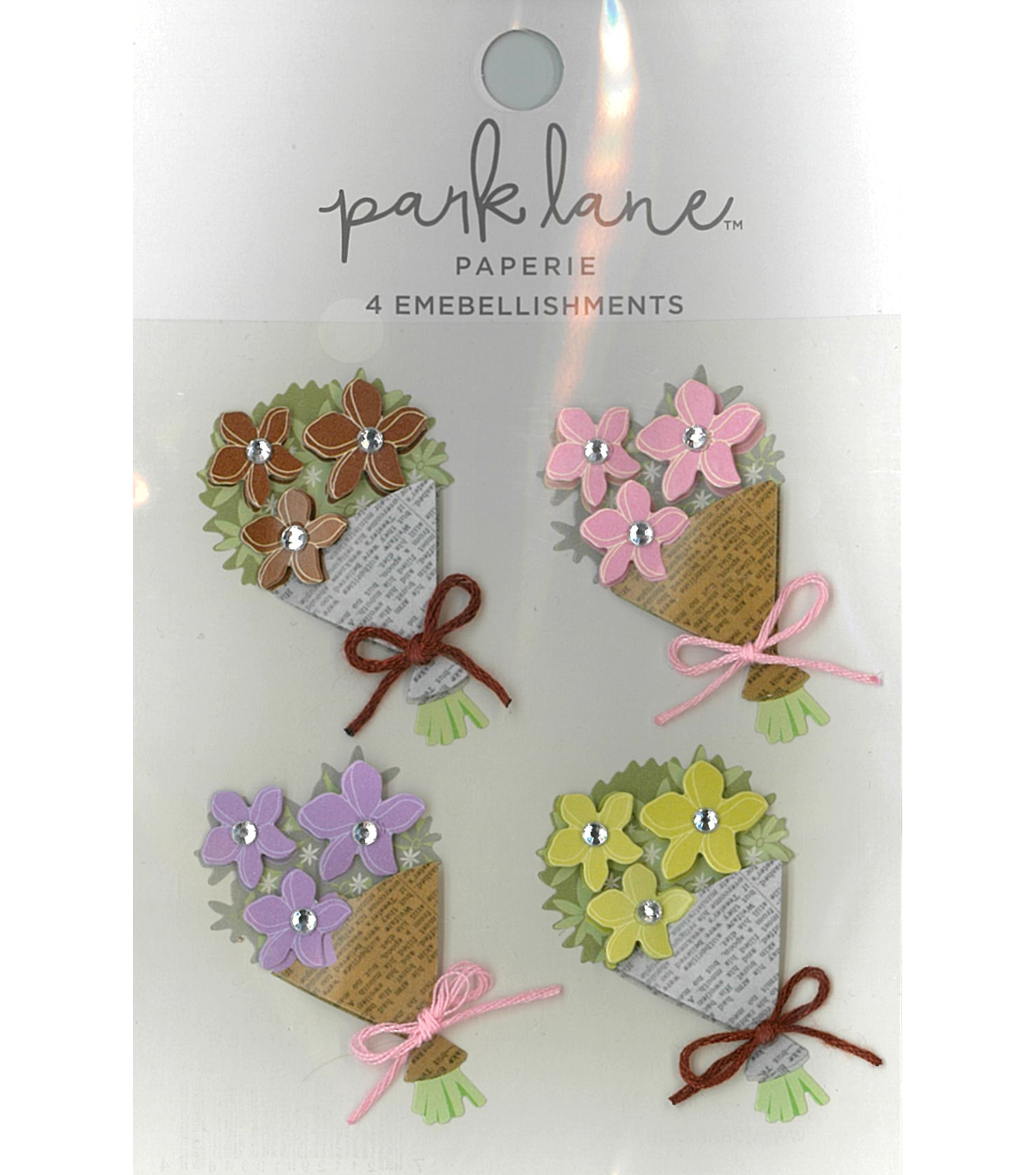 Park Lane Paperie 4 pk Embellishments-Blue Jewel Flowers