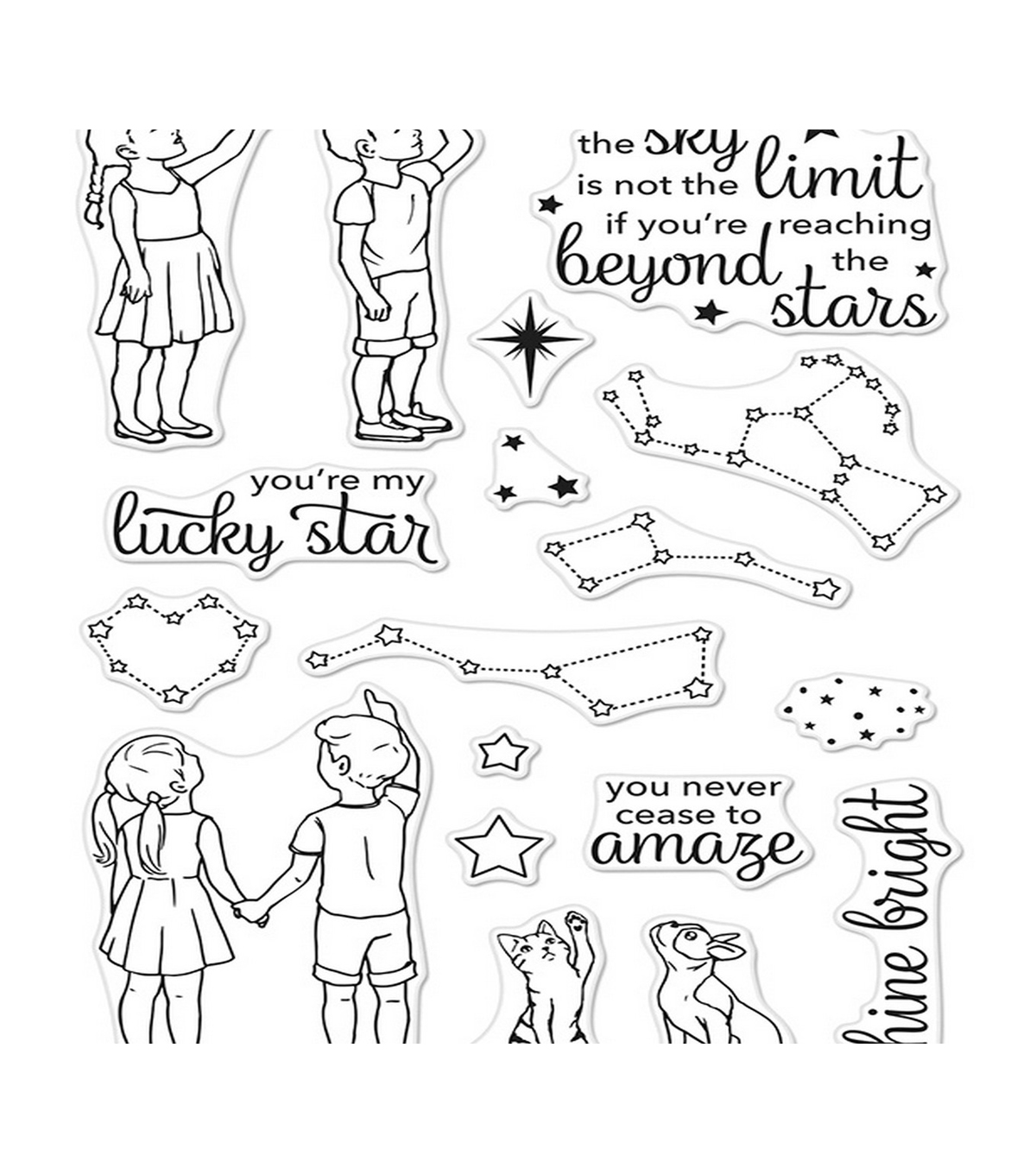 Hero Arts 18 pk Clear Stamps-Lucky Star