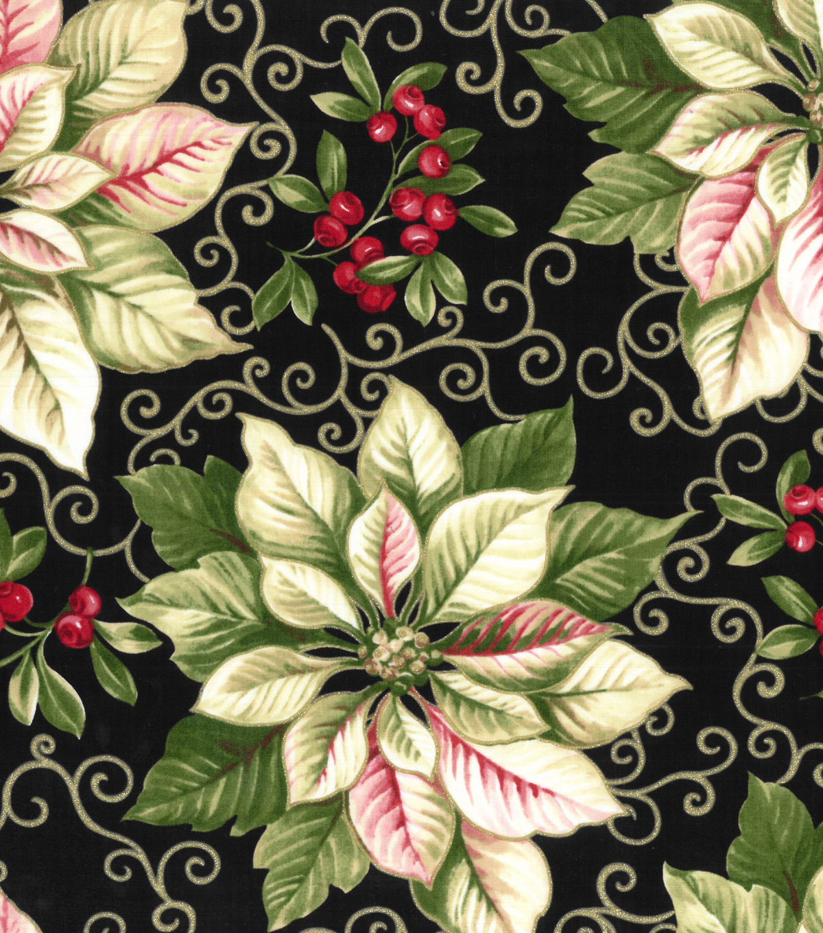 Christmas Cotton Fabric 43\u0022-White Poinsettia With Gold Scrolls